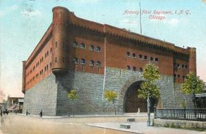Chicago Illinois National Guard Armory~First Regiment c1910 Postcard