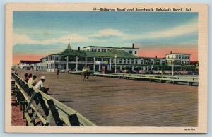 Postcard DE Rehoboth Beach Belhaven Hotel & Boardwalk Vintage Linen c1940s #2 S2