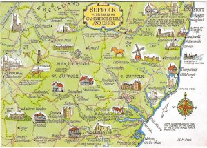 Postcard Illustrated Map Suffolk