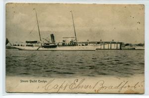Steam Yacht Evelyn Captain Elmer Bradford 1911 postcard
