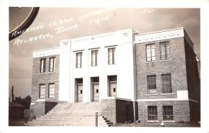 Atlantic Iowa~American Legion Memorial Hall~1940s Real Photo Postcard~RPPC