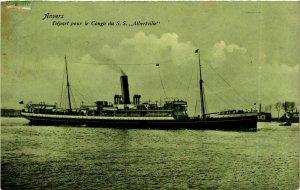 CPA AK Depart pour le Congo du S.S. Albertville - Anvers SHIPS (911685)