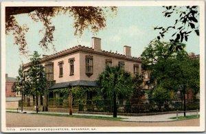 1910s Savannah GA Postcard SHERMAN'S HEADQUARTERS Street View Detroit Pub.