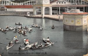 Kansas City MO Electric Amusement Park~Bumper Rowboats~Roller Coaster c1910