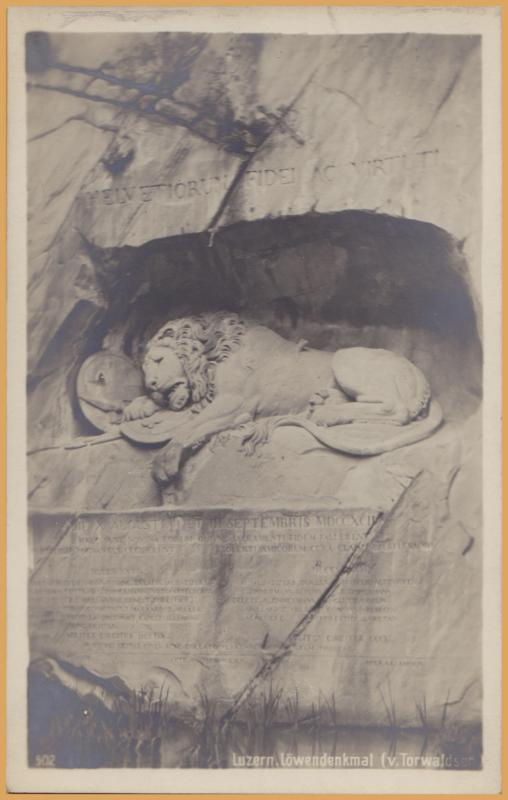 RPPC-Lucerne, Switzerland-Lowendenkmal-The Lion Monument, or the Lion of Lucerne