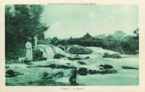 Mission Dominicaine Belgian Congo Belge missionary Rangu rive river postcard