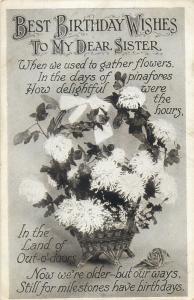 Sister birthday greetings best wishes postcard flowers