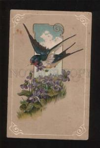 052094 Cute SWALLOW & VIOLETS vintage PFB pc