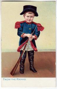 Boy in Soldier Uniform with Rifle/ Tuck's Little Men & Women