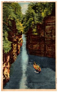 New York   Ausable Chasm Boat leaving Flume
