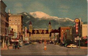 1940s PIKES PEAK AVENUE AND PIKES PEAK Antlers Hotel COLORADO SPRINGS, CO