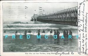 1907 Long Beach CA PC: New Pier and Sun Pavilion