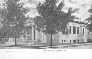 Elkhart Indiana New Library Street View Antique Postcard K13480