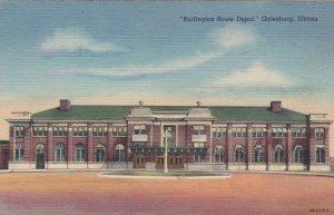 Illinois Galesburg Burlington Route Railroad Depot Curteich sk1074