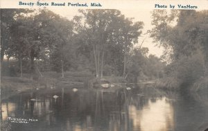 G21/ Portland Michigan RPPC Postcard 1919 Beauty Spots Round Lake