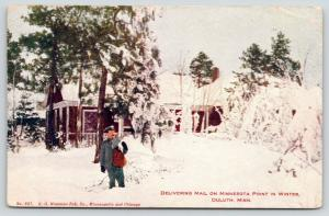 Duluth MN~Mailman Up to Knees in Snow~Delivering on Minnesota Point~Ice~1911 PC