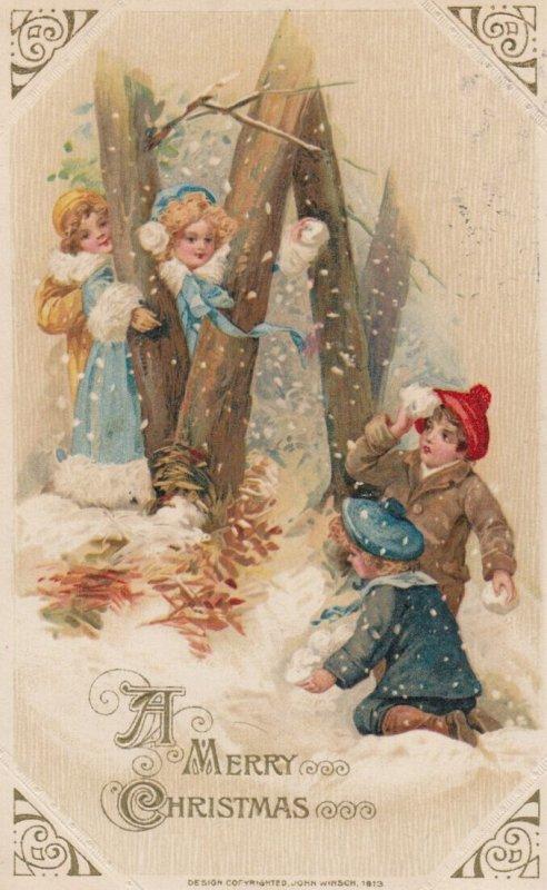 John Winsch 1913 ; CHRISTMAS #3 ; Kids snowball fight