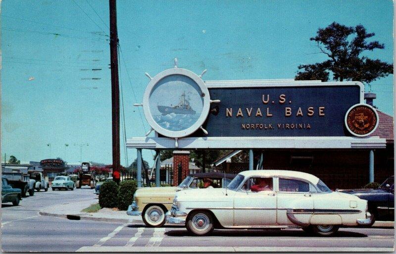ENTRANCE US Naval Base Norfolk Virginia VA CARS AUTO CHROME 1957 - POSTCARD
