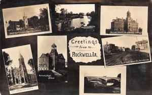 Rockwell IA Beeman Merc~Brown Bridge~Schools~Churches~Beaver Dam RPPC 1910 Multi