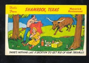 SHAMROCK TEXAS ROUTE 66 MAVERICK RESTAURANT CHARGING BULL VINTAGE POSTCARD