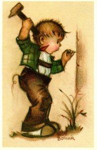 Little Boy Hammering Nail.  Artist: Bonnie      (Mainzer #588)