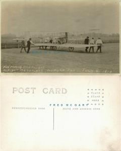 1910 Aurora Ill RPPC: 9 Men Wheel Out Wright Aeroplane Onto Driving Park - Rare