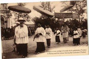 VIETNAM INDOCHINE - Evéque et son cortége a la sortie de la cathédrale (190101)