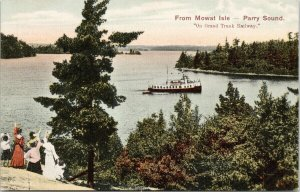 Parry Sound ON from Mowat Isle On Grand Trunk Railway Ontario Postcard E79