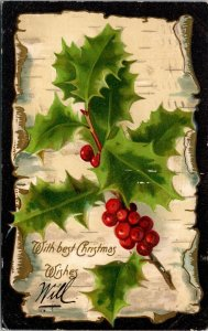 Best Christmas Wishes  - Holly Embossed - Vintage - POSTCARD PC POSTED