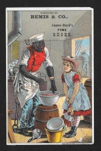 VICTORIAN TRADE CARD Bemis Boots & Shoes Black Sailor Cook