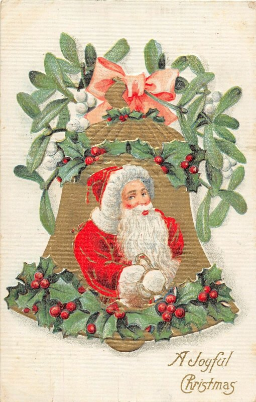 F98/ Santa Claus Christmas Postcard c1910 Gold Bell Chicago Holly 5