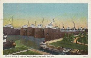 SOO, Michigan, 1910-20s; Fleet of Modern Freighters Waiting Below the Locks