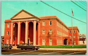 West Haven Connecticut~Long 1960s Station Wagon in Front of City Hall~Postcard