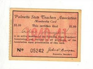 Palmetto State Teachers Association Card 1940-41