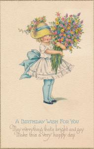 Birthday Wish For You Greetings - Girl with huge bouquet of Flowers - DB
