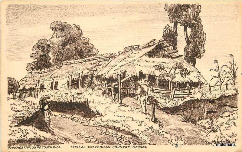 Artist Impession Postcard Circa 1920's Typical Costarican Country House 13009
