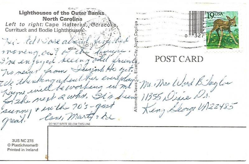 Lighthouses of the Outer Banks North Carolina Postcard PCBT8-52921
