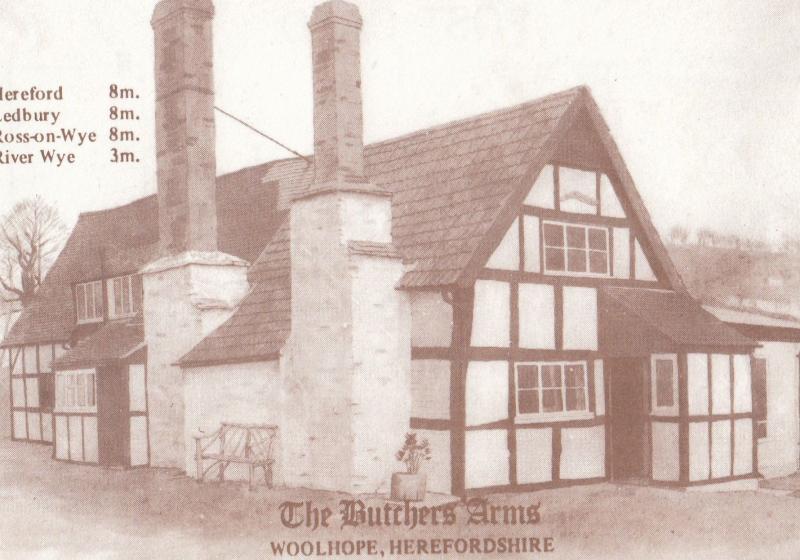 The Butchers Arms Woolhope Hereford Pub Vintage Advertising Postcard