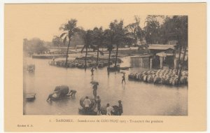 Benin; Dahomey, No 6, 1925 Cotonou Floods, Shifting Goods PPC By ER Unused