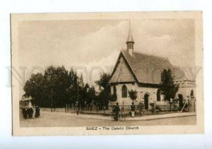 173816 EGYPT SUEZ Catolic Church Vintage postcard
