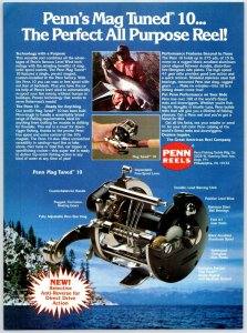 1980's Penn Mag Tuned 10 Fishing Reel Old Fishing Reel Print Ad