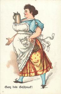 Litho Postcard Beer Alcohol Women Your Taste Ganz dein Geschmack bier caricature