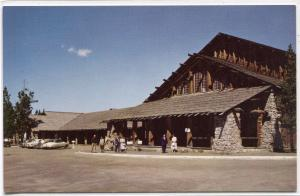 Old Faithful Lodge Yellowstone National Park Wyoming 1950s postcard