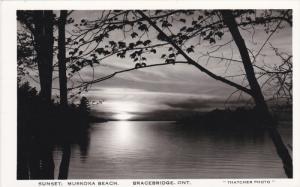 RP: Sunset : Muskoka Beach , BRACEBRIDGE , Ontario , Canada , 1920-40s