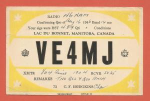 QSL AMATEUR RADIO CARD – LAC DU BONNET, MANITOBA, CANADA – 1946