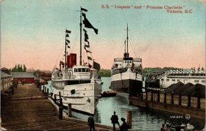 Antique Postcard SS Iroquois & Princess Charlotte Victoria BC Canada 1912