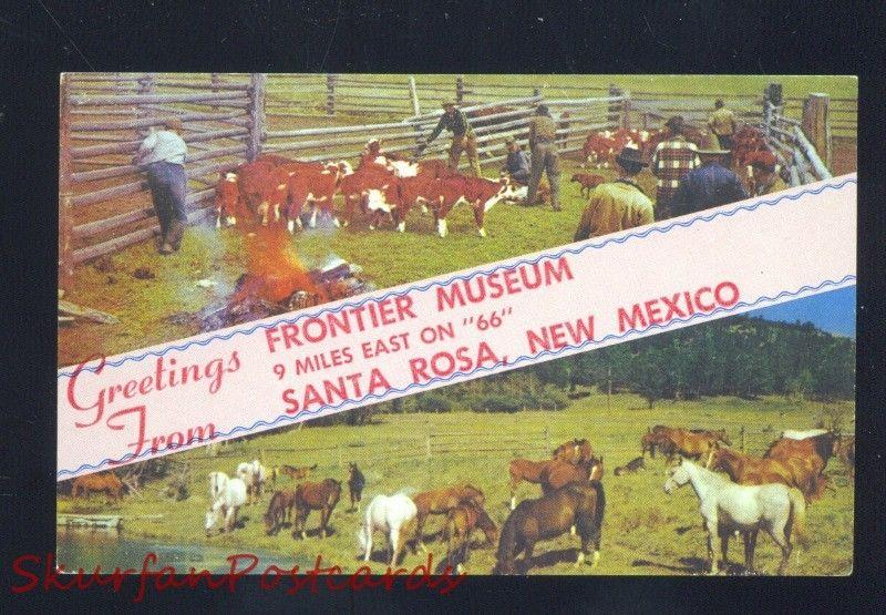 SANTA ROSA NEW MEXICO ROUTE 66 FRONTIER MUSEUM CATTLE ADVERTISING POSTCARD