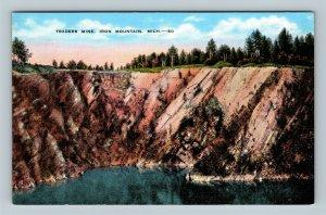Iron Mountain MI, Traders Mine, Linen Michigan Postcard