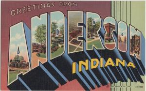 Indiana In Postcard ANDERSON Linen LARGE LETTER GREETING Curt Teich