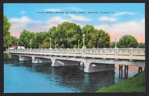 Fifth Street Bridge on Sand Creek Newton Kansas Unused c1930s
